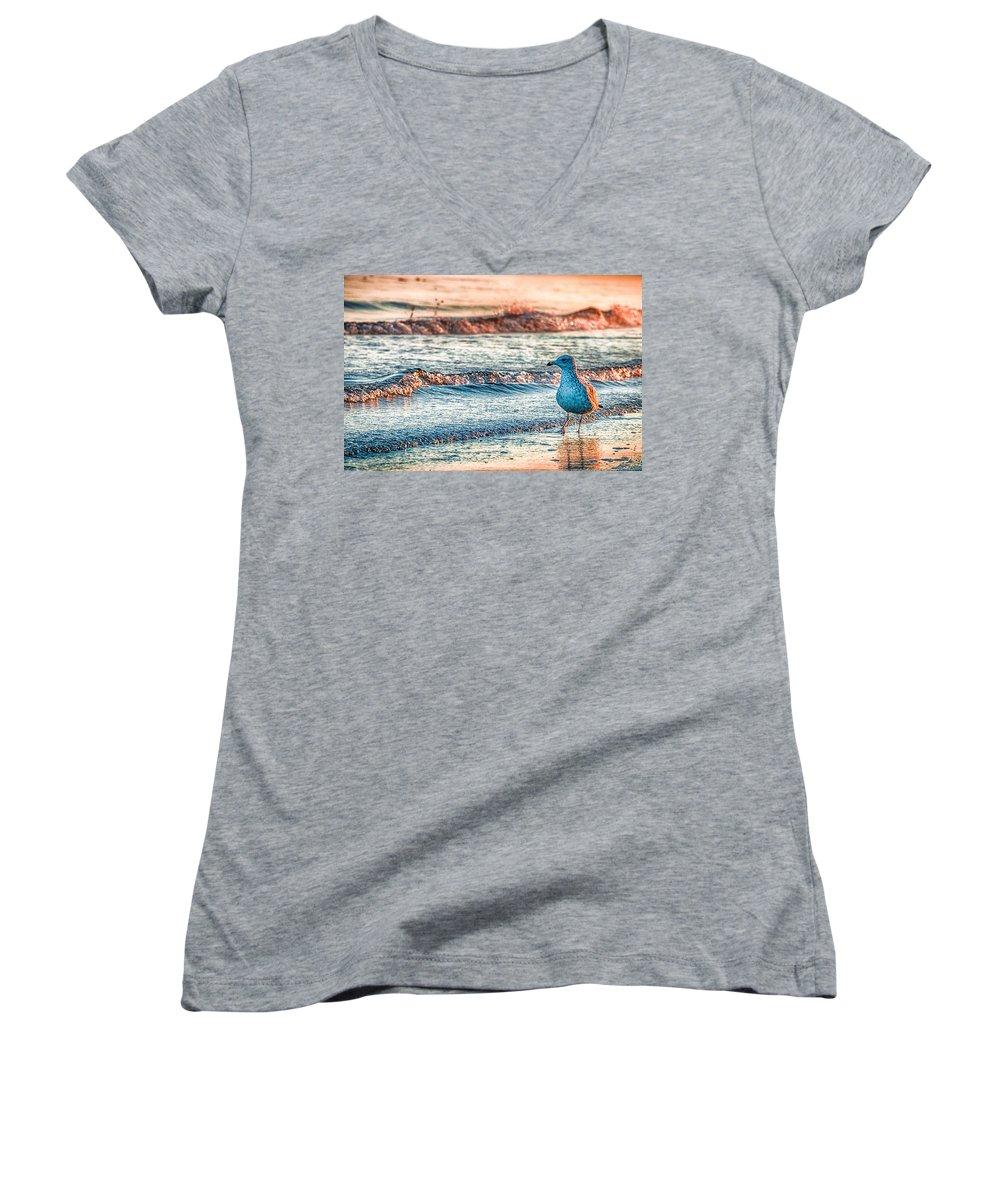 Beach Women's V-Neck T-Shirts