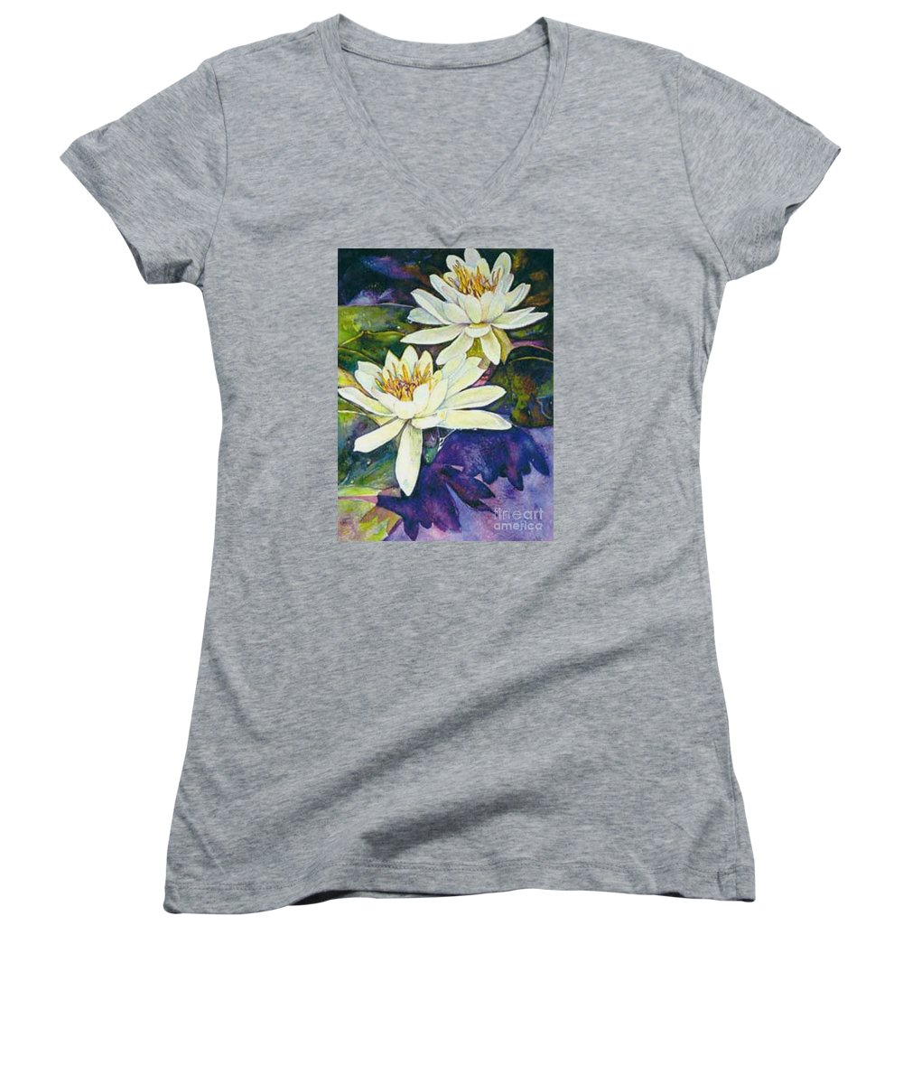 Flower Women's V-Neck T-Shirt featuring the painting Water Lilies by Norma Boeckler