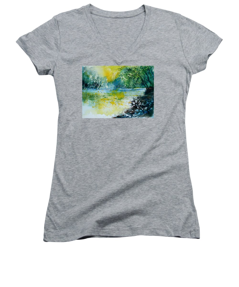 Pond Women's V-Neck (Athletic Fit) featuring the painting Watercolor 051108 by Pol Ledent