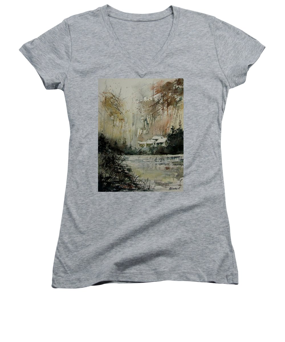 Landscape Women's V-Neck T-Shirt featuring the painting Watercolor 070608 by Pol Ledent