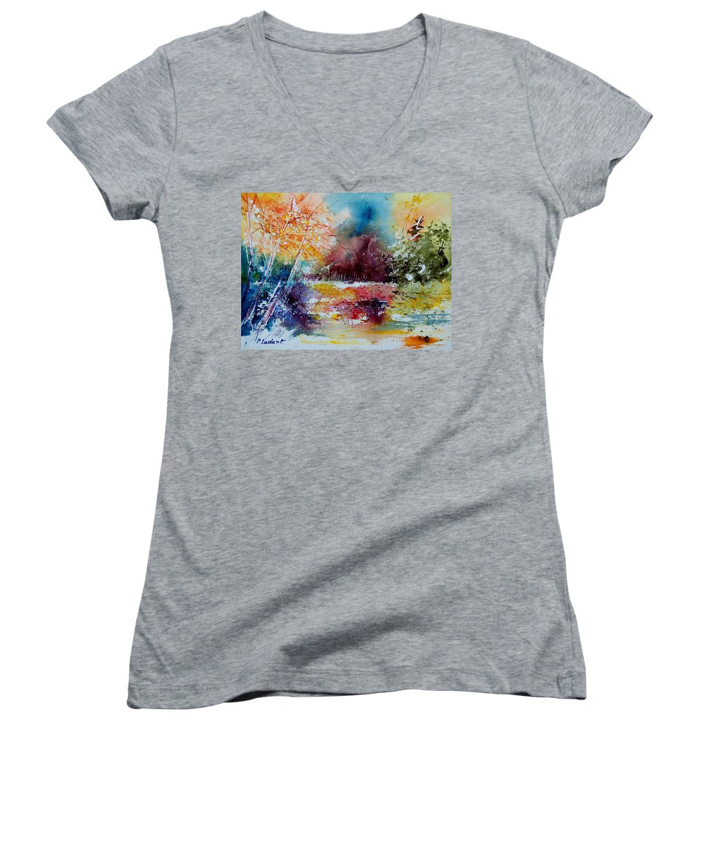 Pond Women's V-Neck (Athletic Fit) featuring the painting Watercolor 140908 by Pol Ledent
