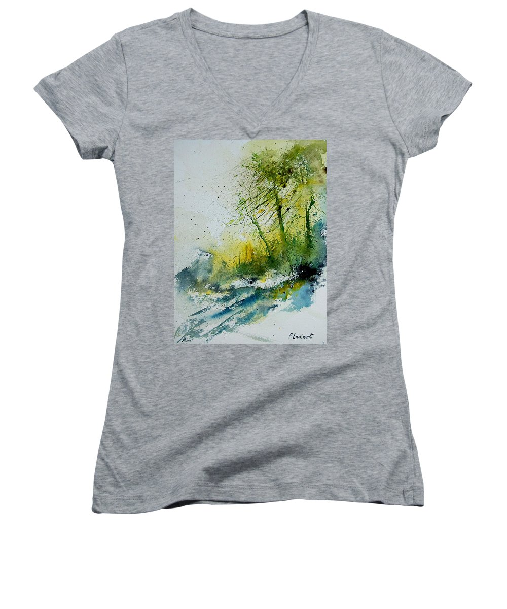 River Women's V-Neck T-Shirt featuring the painting Watercolor 181207 by Pol Ledent