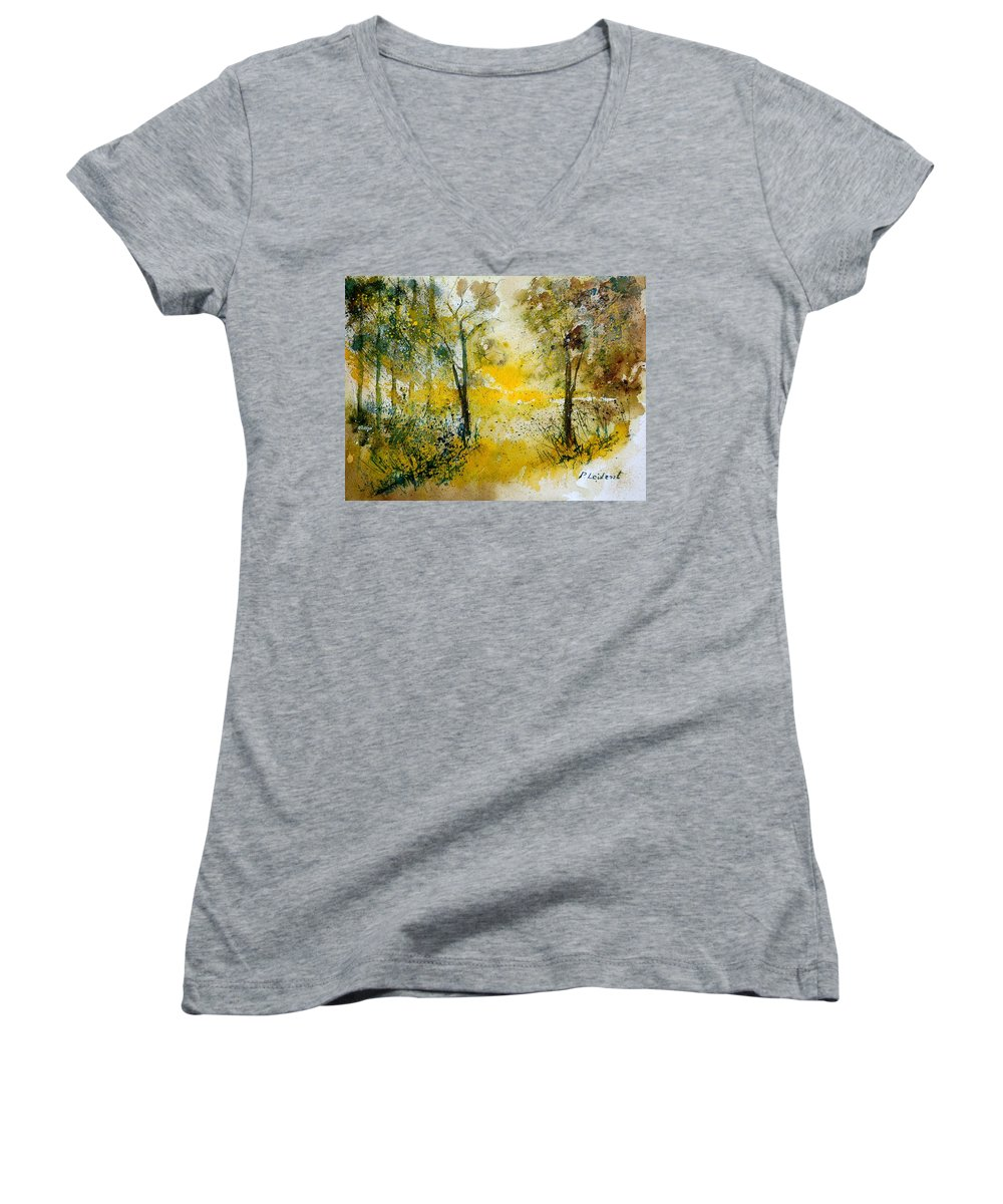 River Women's V-Neck (Athletic Fit) featuring the painting Watercolor 210108 by Pol Ledent