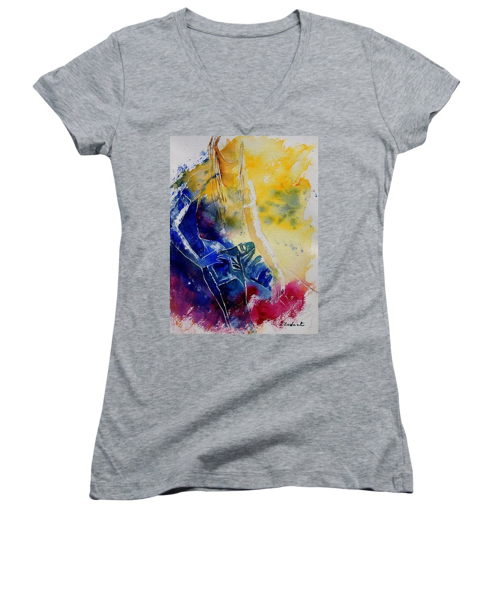 Girl Nude Women's V-Neck (Athletic Fit) featuring the painting Watercolor 21546 by Pol Ledent