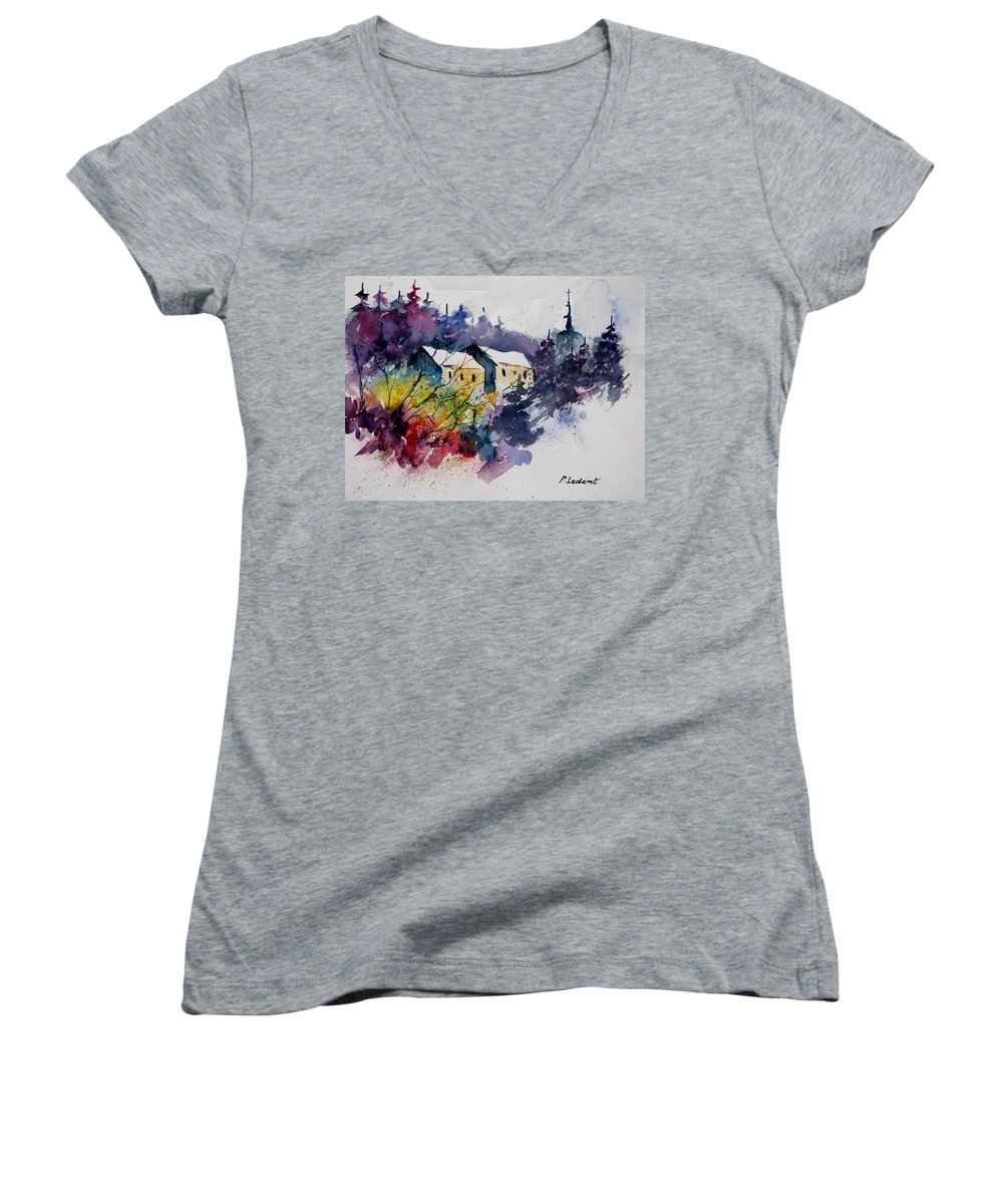 River Women's V-Neck T-Shirt featuring the painting Watercolor 231207 by Pol Ledent