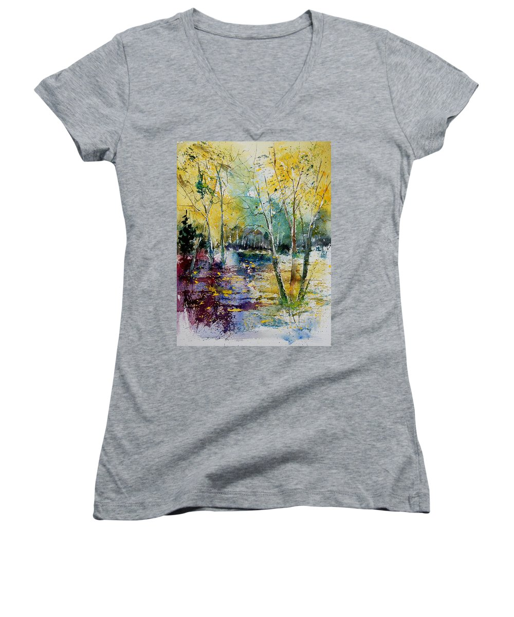 Pond Women's V-Neck (Athletic Fit) featuring the painting Watercolor 280809 by Pol Ledent