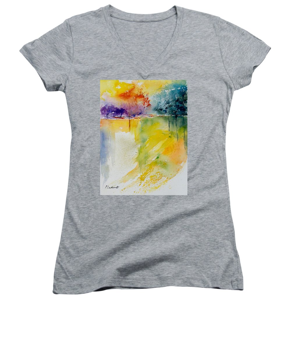 Pond Women's V-Neck T-Shirt featuring the painting Watercolor 800142 by Pol Ledent