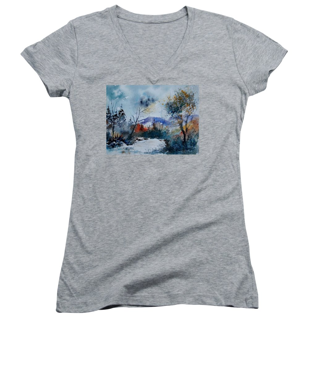 Landscape Women's V-Neck (Athletic Fit) featuring the painting Watercolor 802120 by Pol Ledent