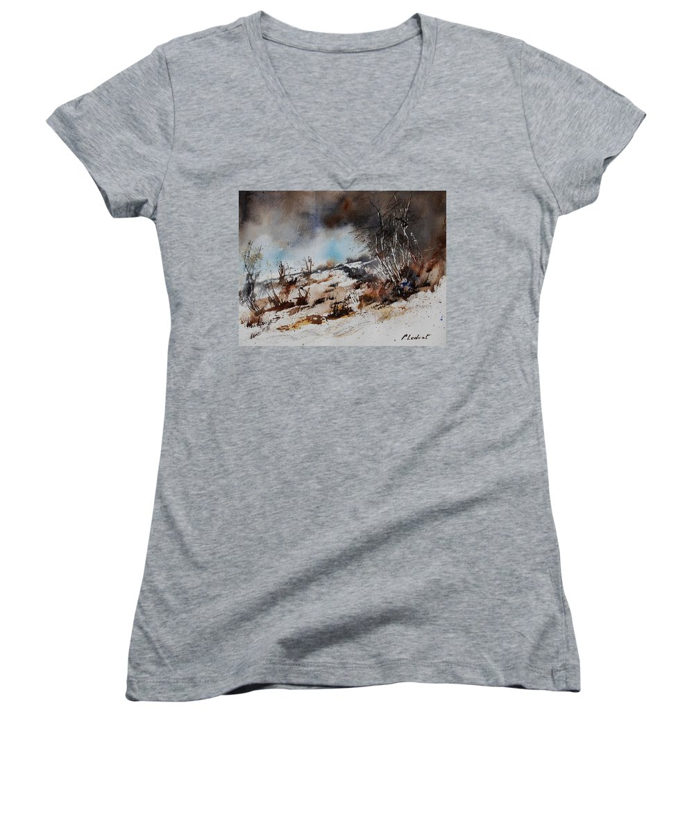 River Women's V-Neck (Athletic Fit) featuring the painting Watercolor Jjook by Pol Ledent