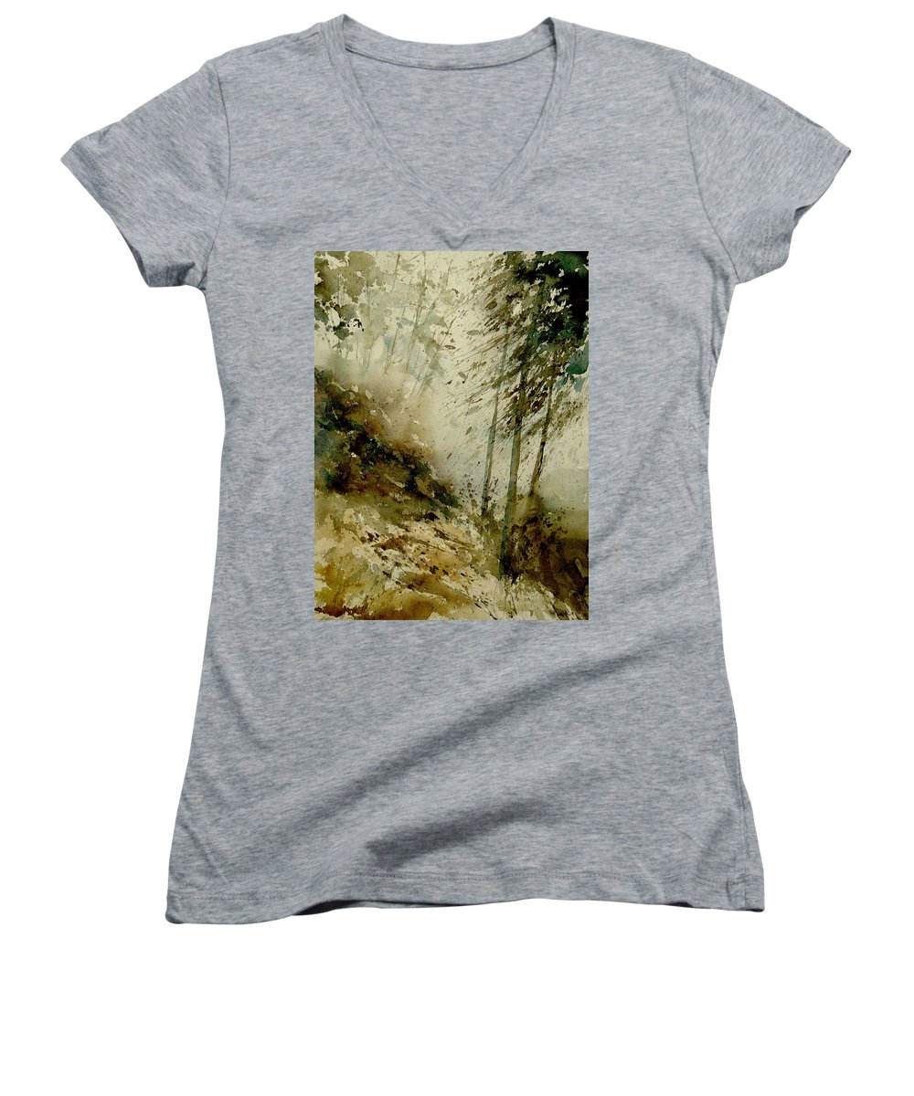 Landscape Women's V-Neck (Athletic Fit) featuring the painting Watercolor Misty Atmosphere by Pol Ledent