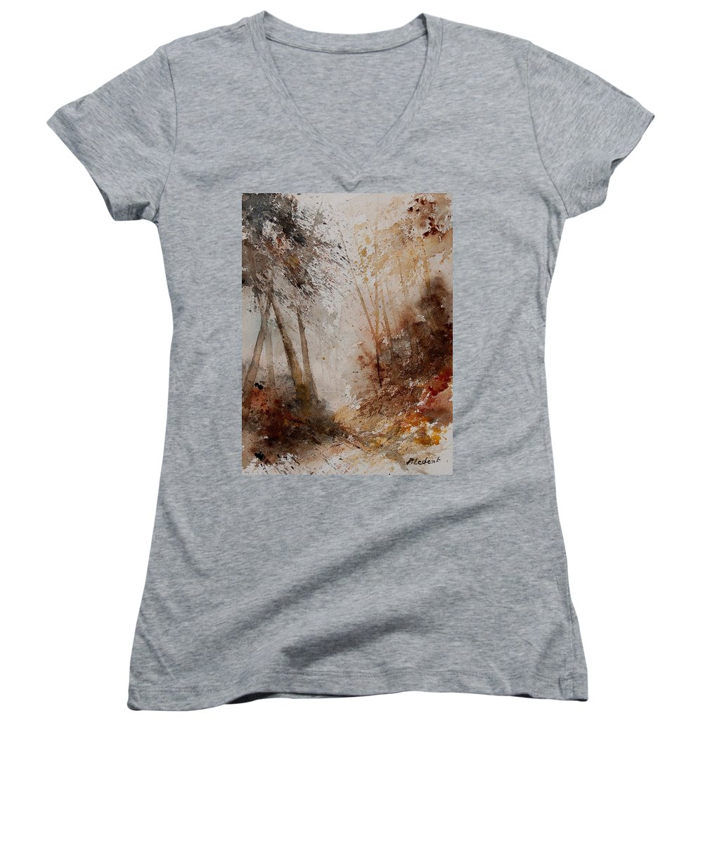 Landscape Women's V-Neck T-Shirt featuring the painting Watercolor Misty Path by Pol Ledent