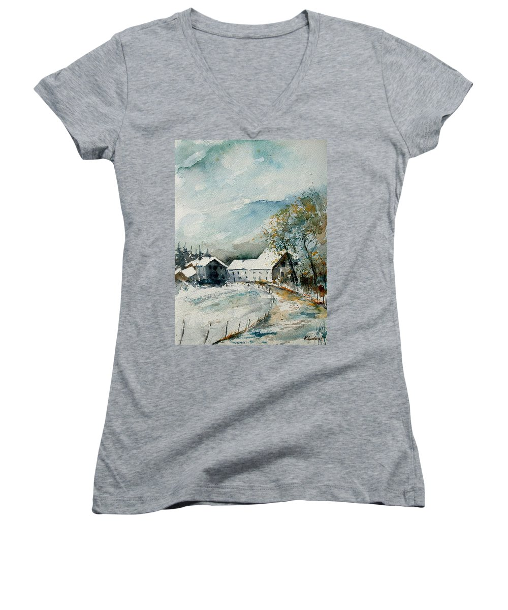 River Women's V-Neck (Athletic Fit) featuring the painting Watercolor Sechery 1207 by Pol Ledent