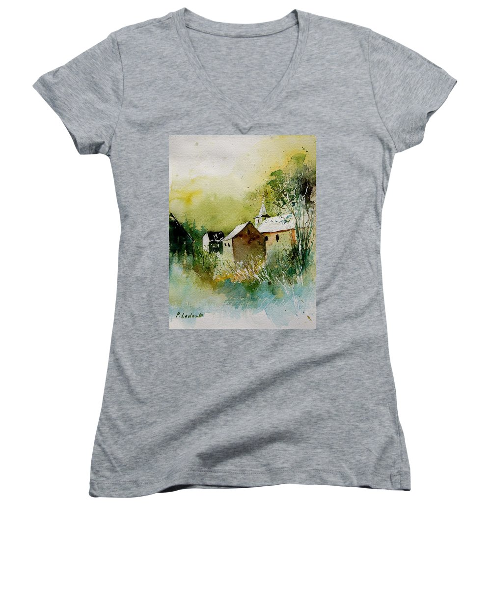 Landscape Women's V-Neck T-Shirt featuring the painting Watercolor Sosoye by Pol Ledent