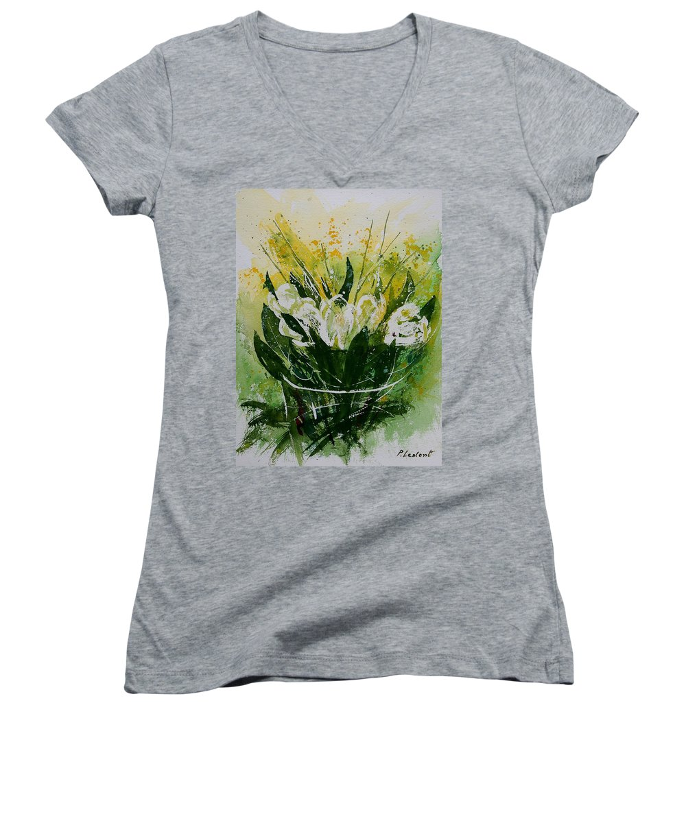 Flowers Women's V-Neck T-Shirt featuring the painting Watercolor Tulips by Pol Ledent