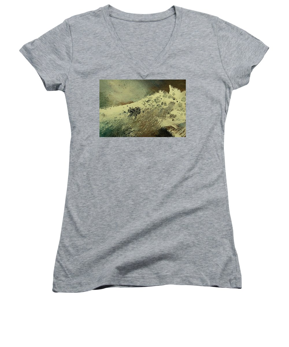 Sea Women's V-Neck (Athletic Fit) featuring the painting Wave by Pol Ledent