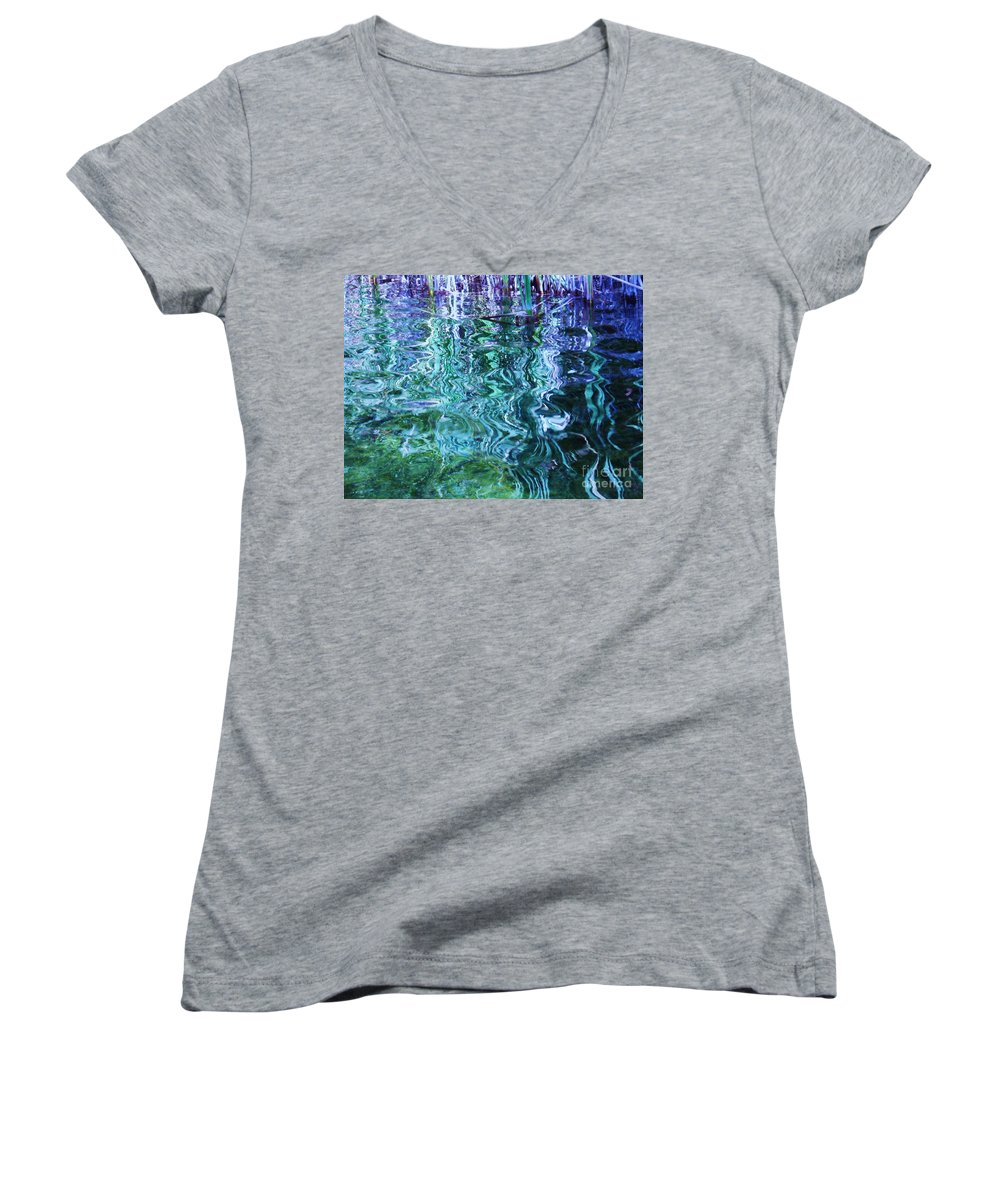 Photograph Blue Green Weed Shadow Lake Water Women's V-Neck (Athletic Fit) featuring the photograph Weed Shadows by Seon-Jeong Kim