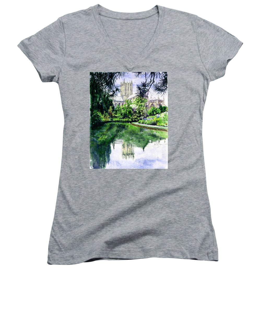 Wells Women's V-Neck T-Shirt featuring the painting Wells Cathedral by John D Benson