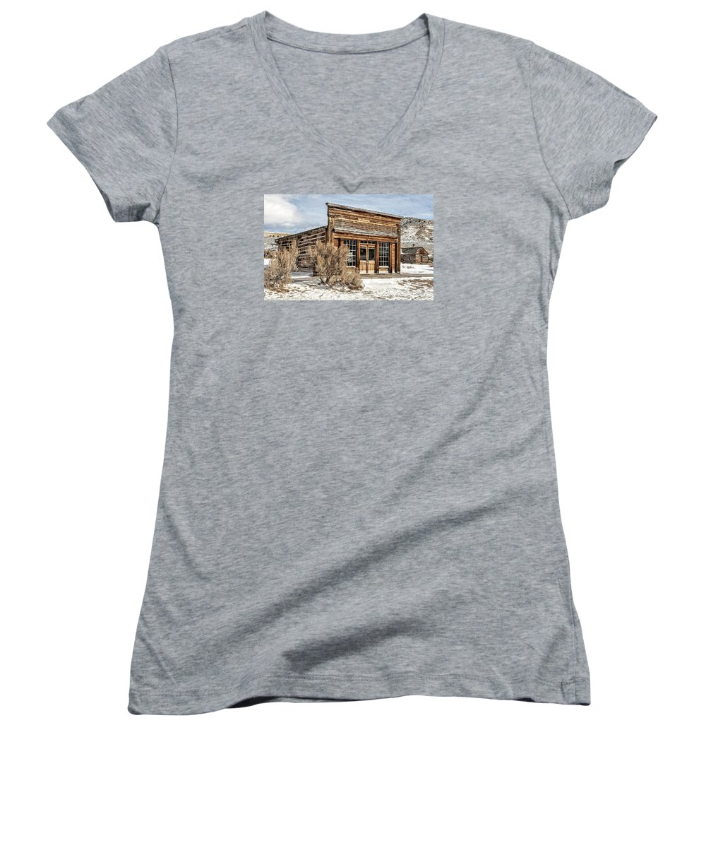 Americana Women's V-Neck featuring the photograph Western Saloon by Scott Read