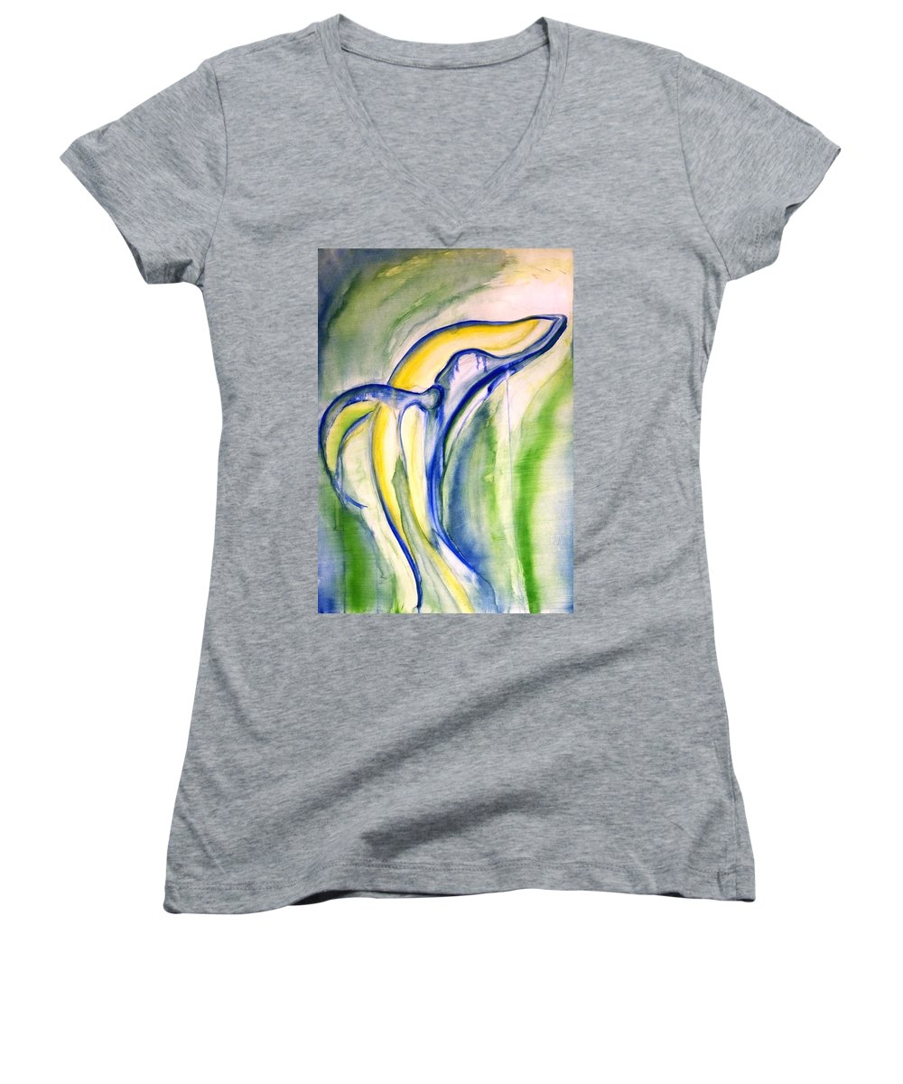 Watercolor Women's V-Neck T-Shirt featuring the painting Whale by Sheridan Furrer