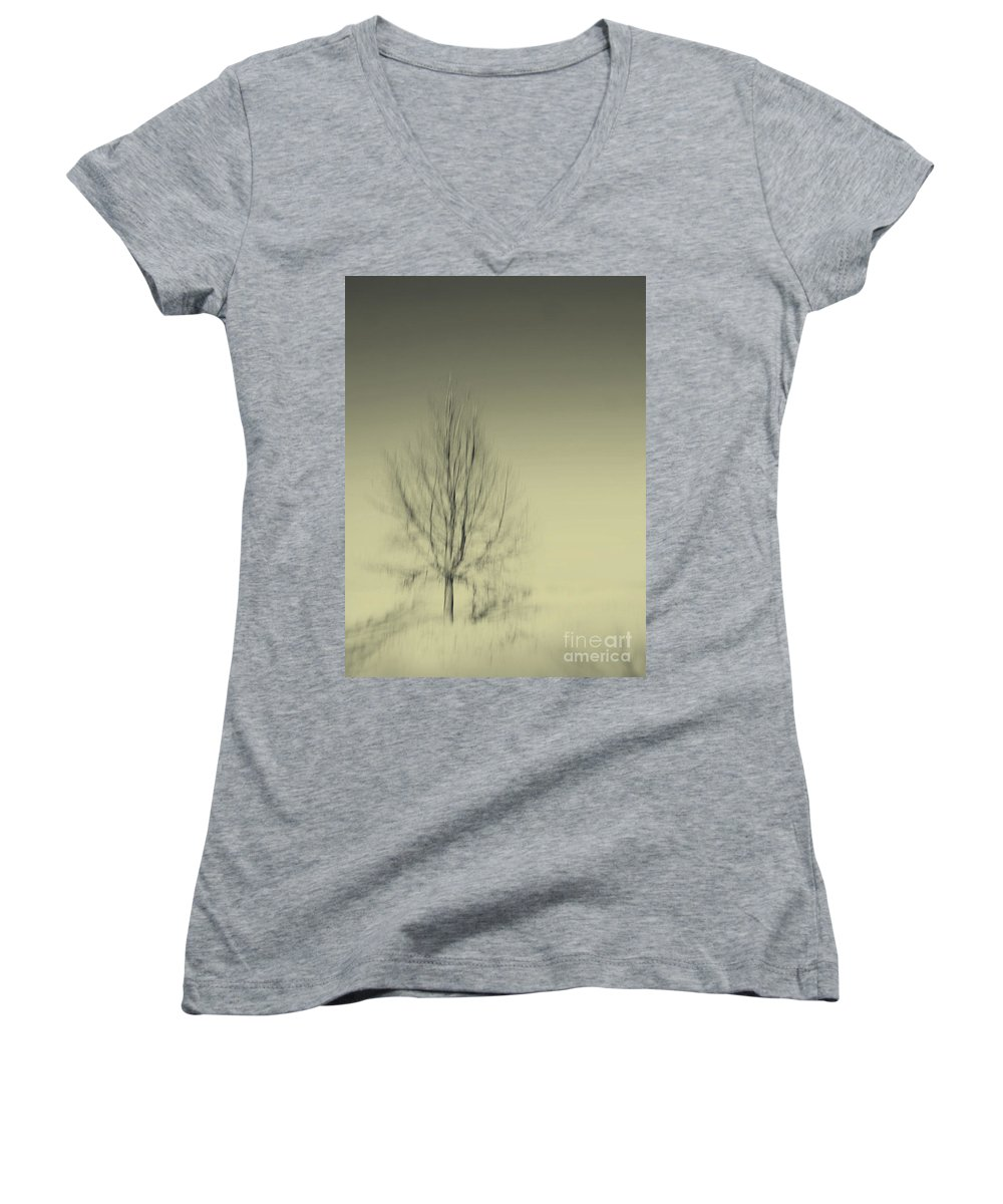 Dipasquale Women's V-Neck T-Shirt featuring the photograph When You Wake Up I Will Have Gone by Dana DiPasquale