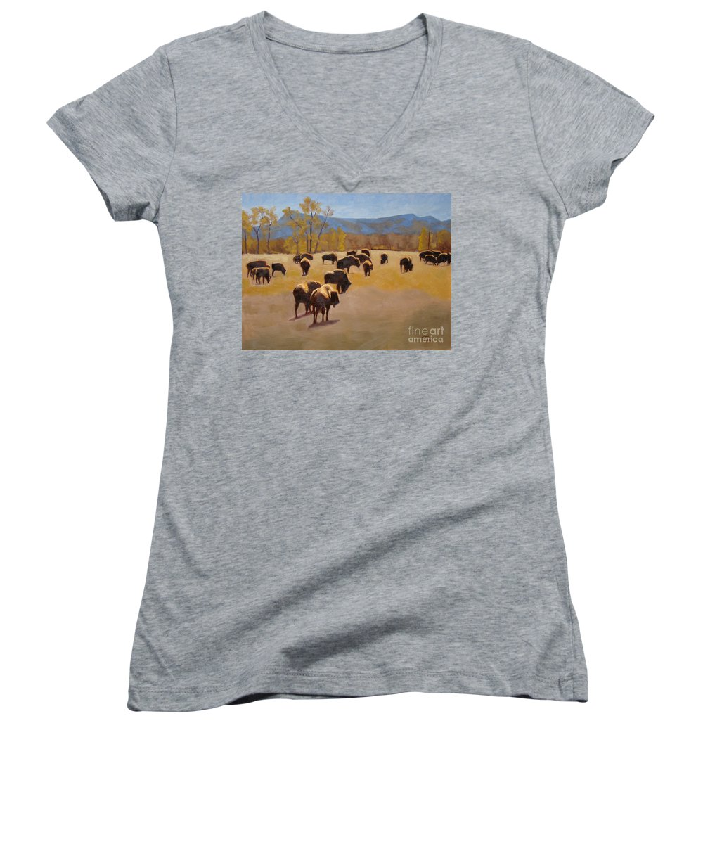 Buffalo Women's V-Neck (Athletic Fit) featuring the painting Where The Buffalo Roam by Tate Hamilton