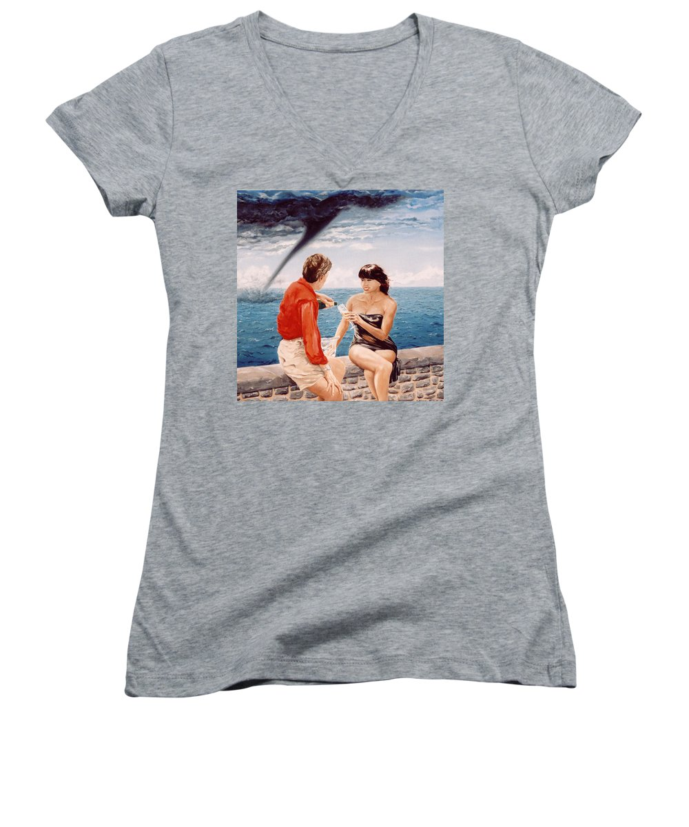 Whirlwind Women's V-Neck T-Shirt featuring the painting Whirlwind Romance by Mark Cawood