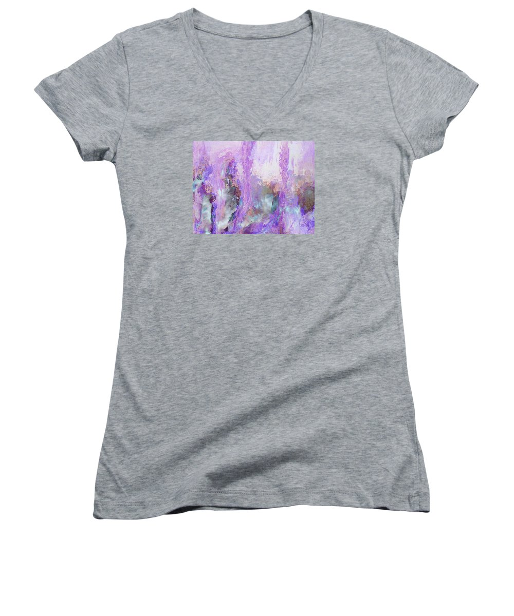Abstract Art Women's V-Neck (Athletic Fit) featuring the digital art Whisper Softly by Linda Murphy