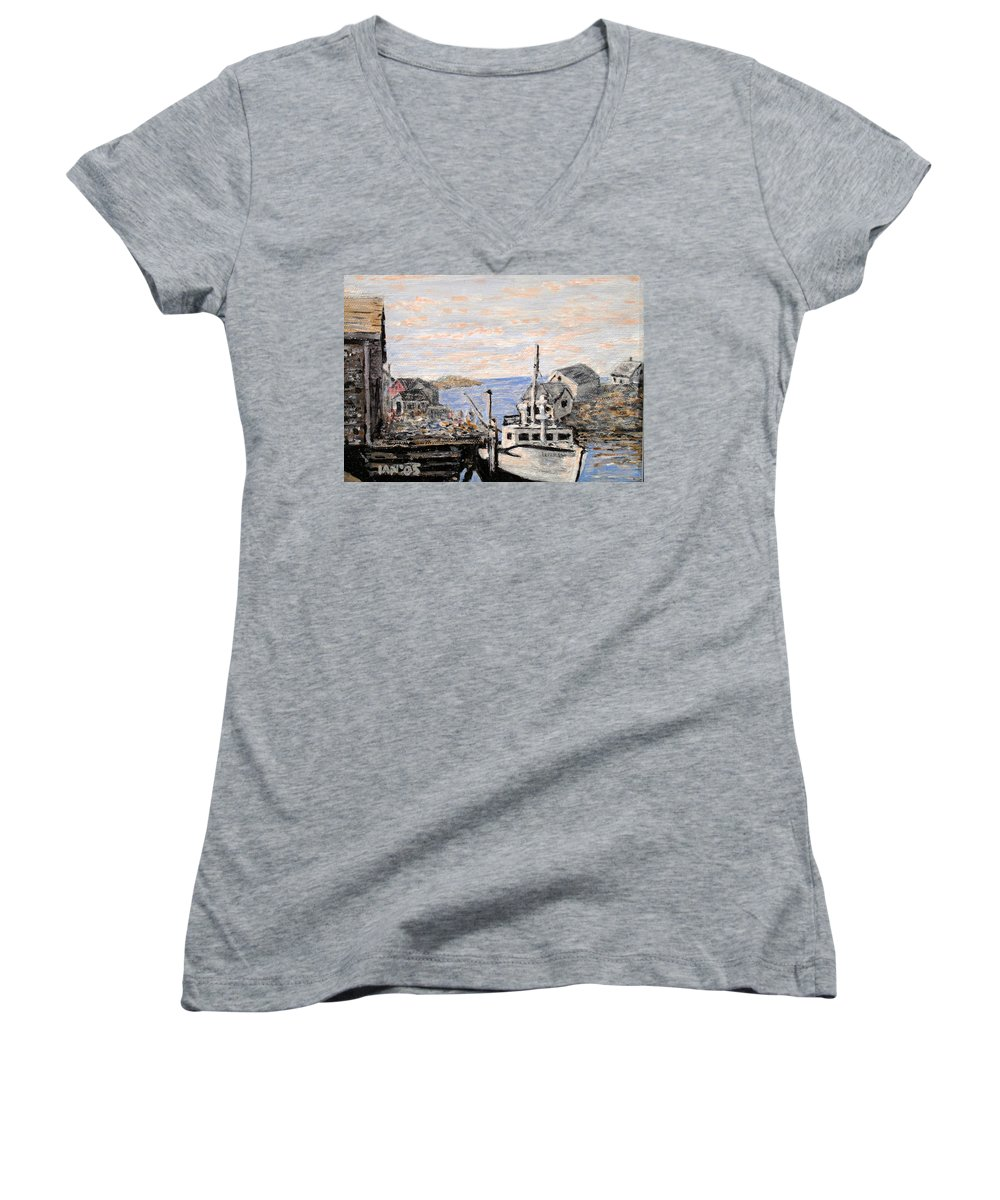 White Women's V-Neck (Athletic Fit) featuring the painting White Boat In Peggys Cove Nova Scotia by Ian MacDonald