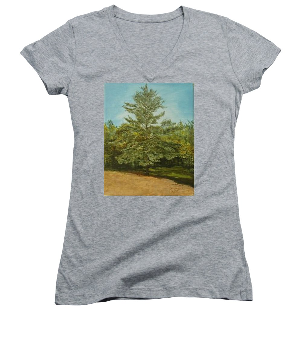 Pine Tree Women's V-Neck T-Shirt featuring the painting White Lake by Leah Tomaino