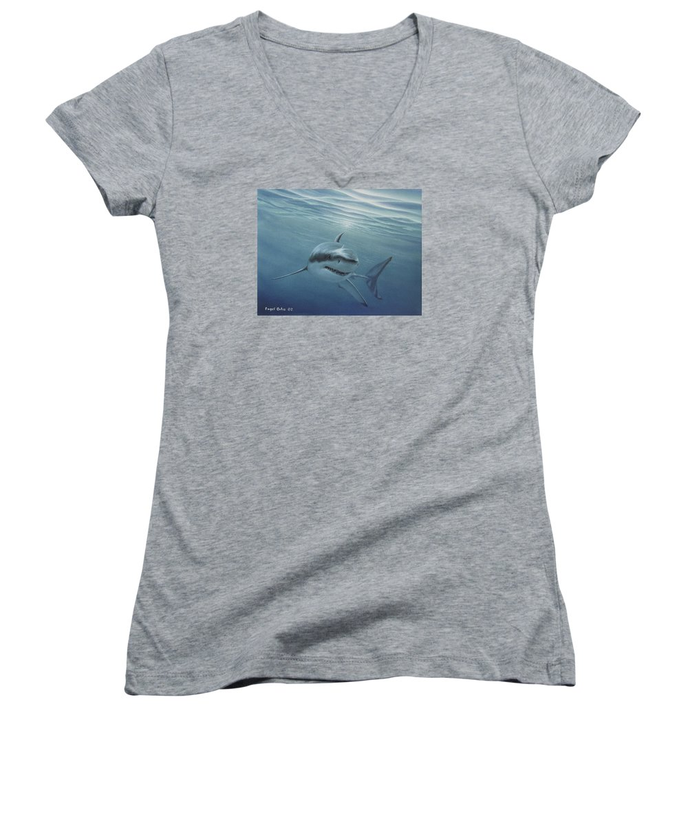 Shark Women's V-Neck (Athletic Fit) featuring the painting White Shark by Angel Ortiz