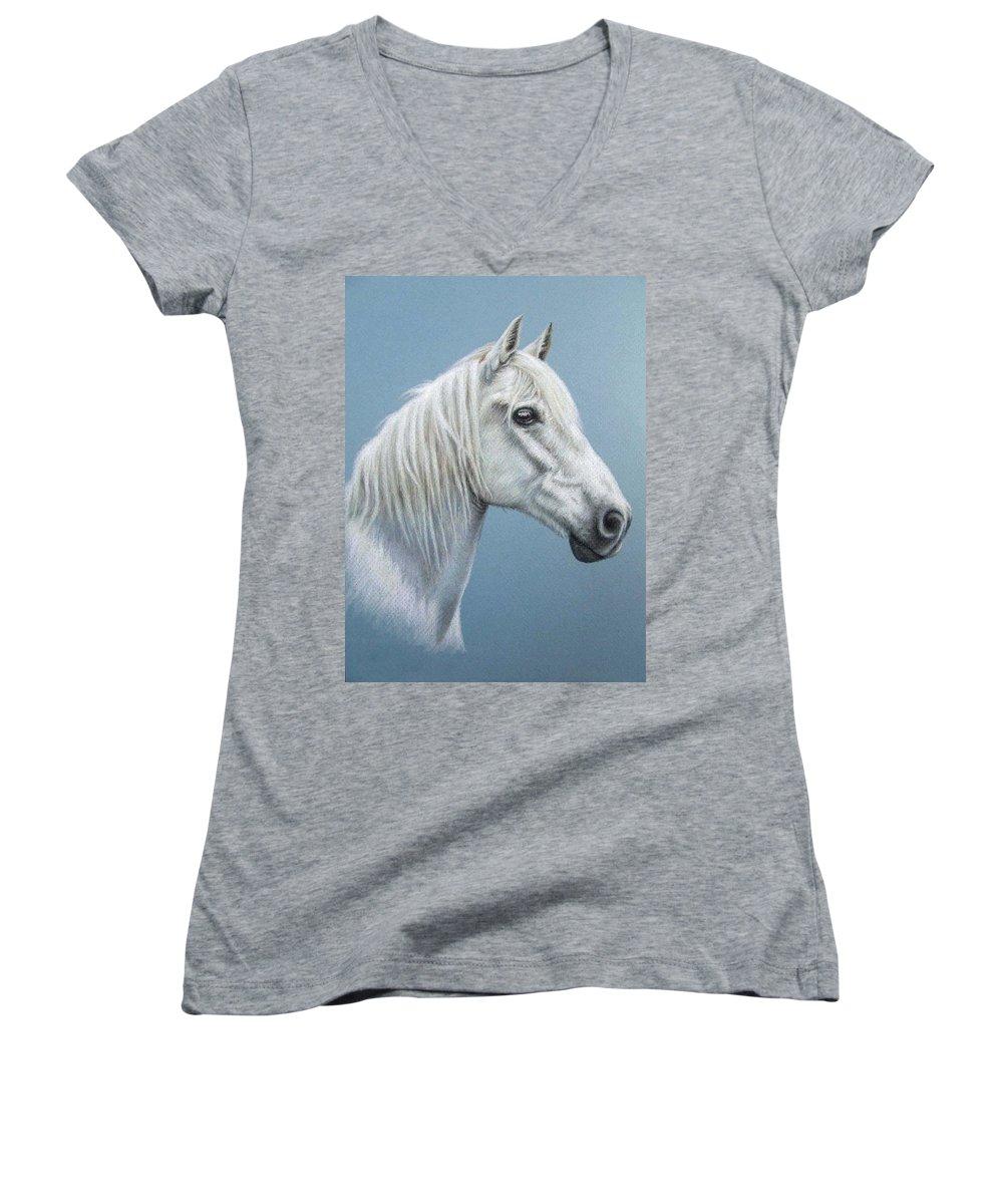 Horse Stallion White Pferd Portrait Animal Realism Pastel Women's V-Neck (Athletic Fit) featuring the pastel White Stallion by Nicole Zeug