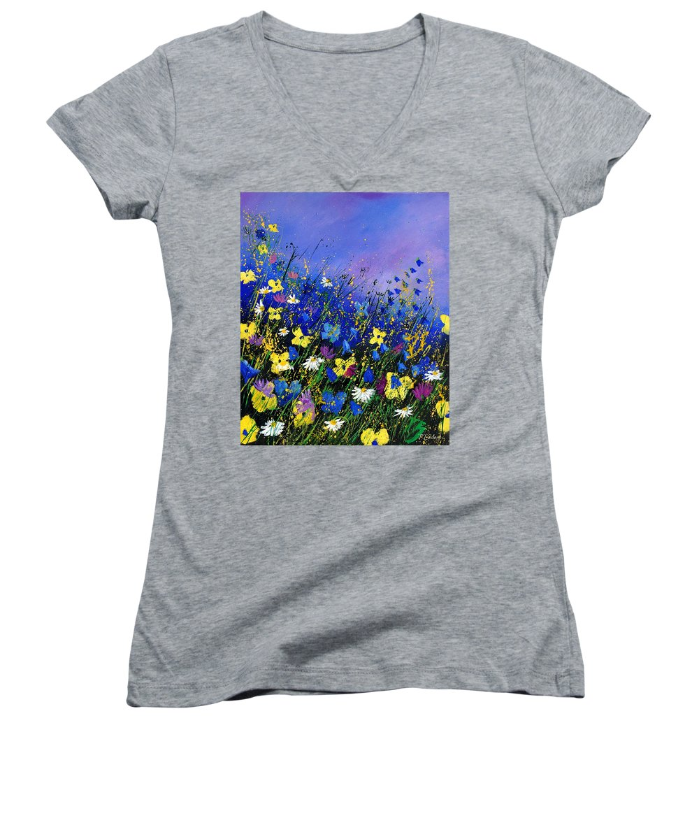 Flowers Women's V-Neck T-Shirt featuring the painting Wild Flowers 560908 by Pol Ledent