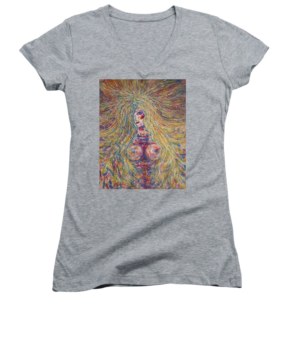 Nude Women's V-Neck T-Shirt featuring the painting Wild Passion by Natalie Holland