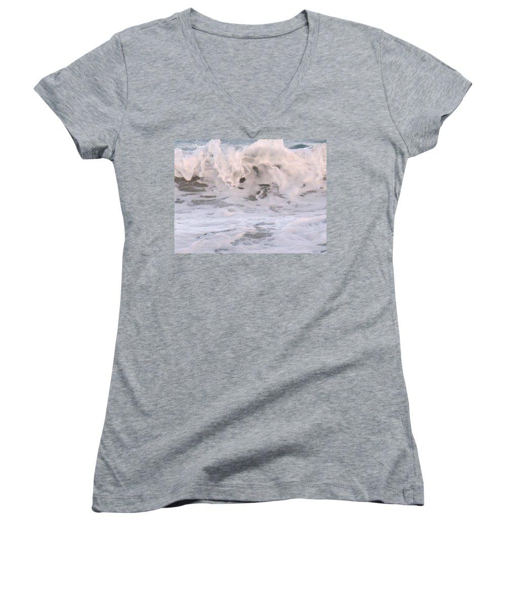 Surf Women's V-Neck T-Shirt featuring the photograph Wild Surf by Ian MacDonald
