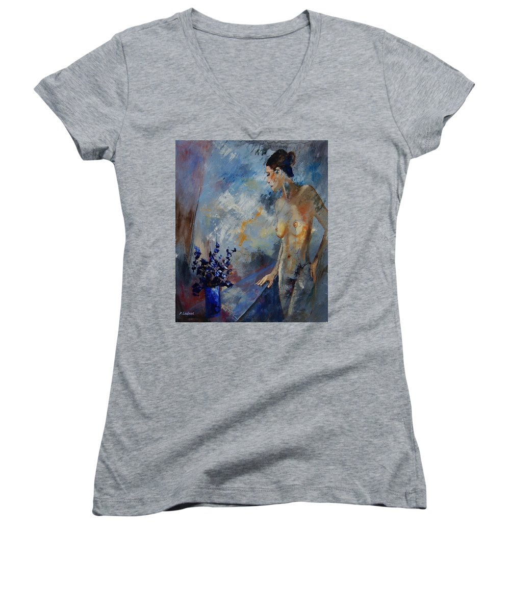 Girl Women's V-Neck T-Shirt featuring the painting Will He Be Coming by Pol Ledent