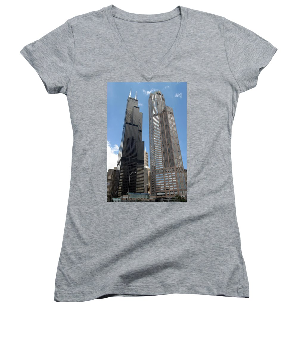 3scape Women's V-Neck T-Shirt featuring the photograph Willis Tower Aka Sears Tower And 311 South Wacker Drive by Adam Romanowicz
