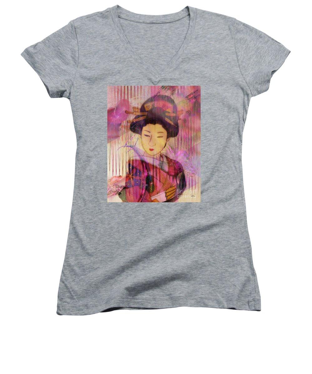 Willow World Women's V-Neck T-Shirt featuring the digital art Willow World by John Beck