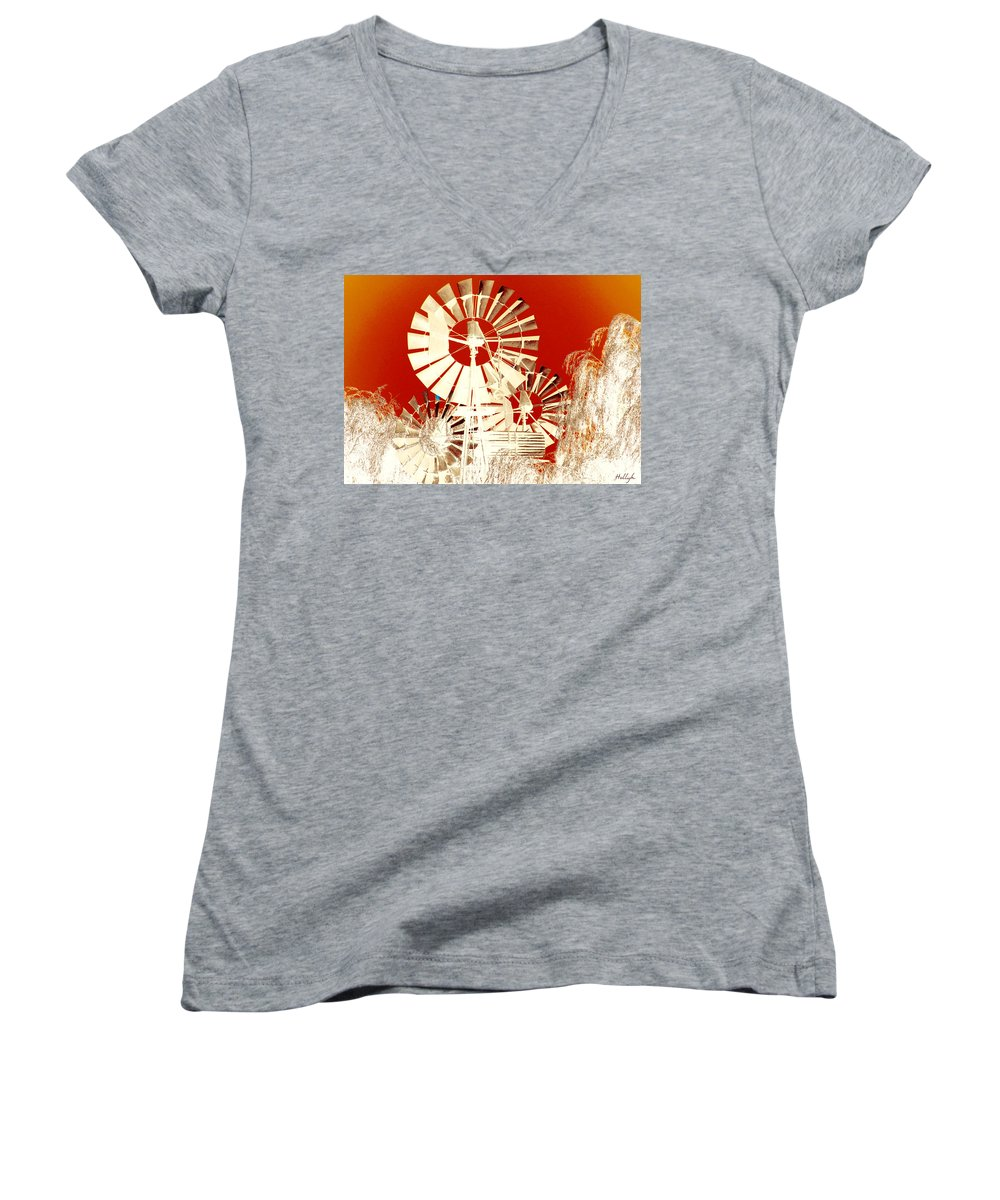 Landscapes Women's V-Neck T-Shirt featuring the photograph Wind In The Willows by Holly Kempe