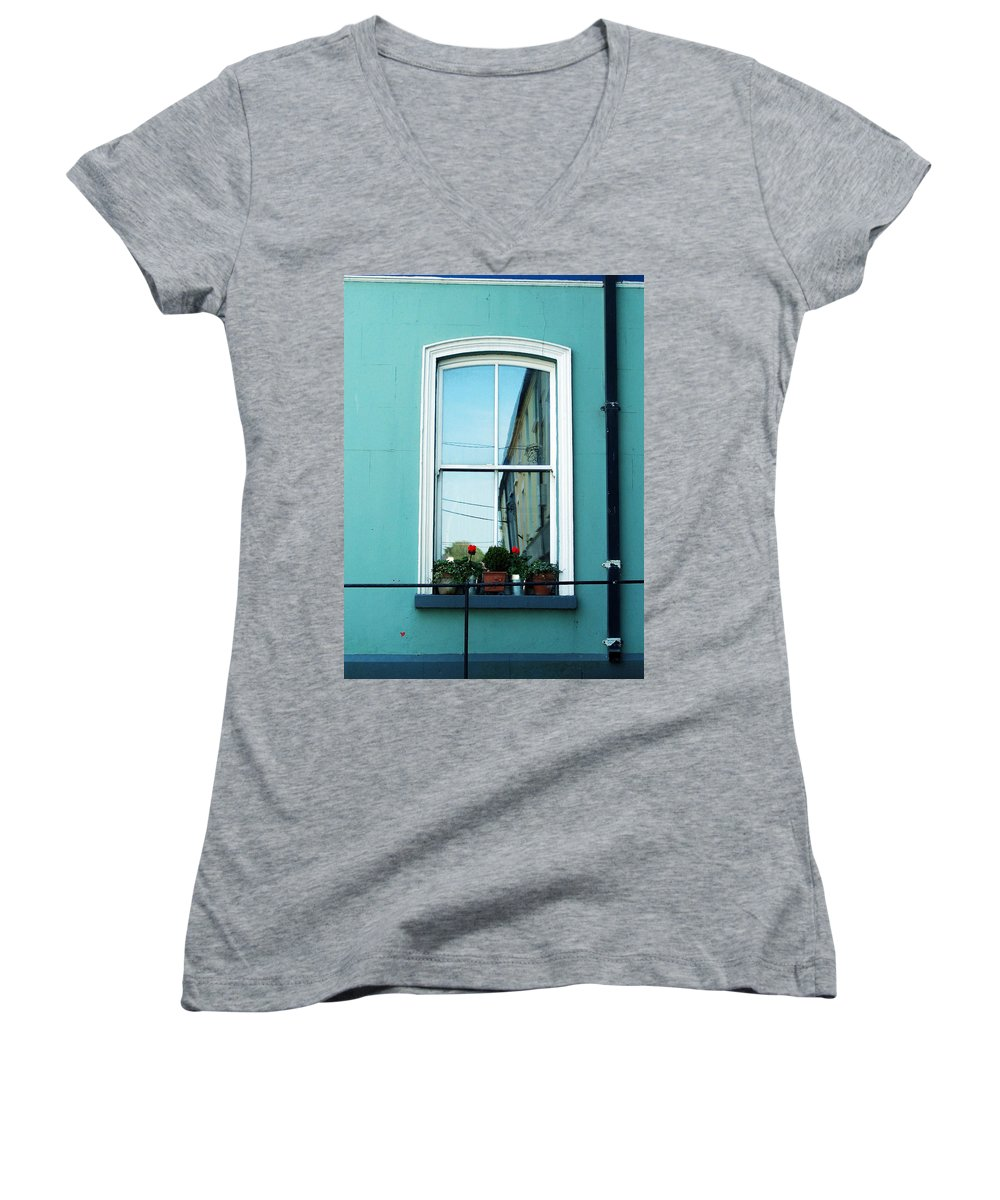 Irish Women's V-Neck (Athletic Fit) featuring the photograph Window In Ennistymon Ireland by Teresa Mucha