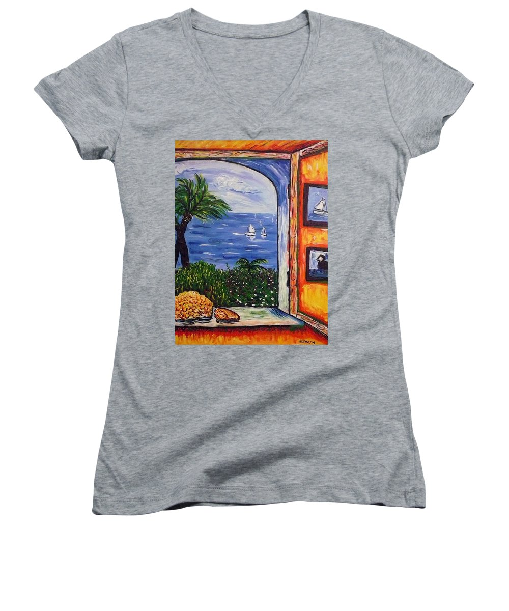 Landscape Women's V-Neck T-Shirt featuring the painting Window With Coral by Ericka Herazo
