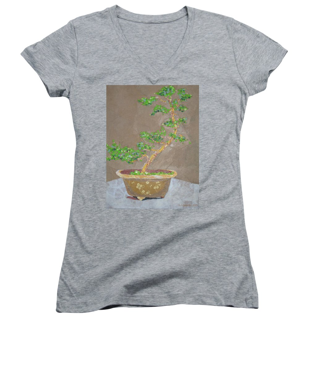 Banzai Tree Women's V-Neck T-Shirt featuring the painting Windswept Juniper by Leah Tomaino