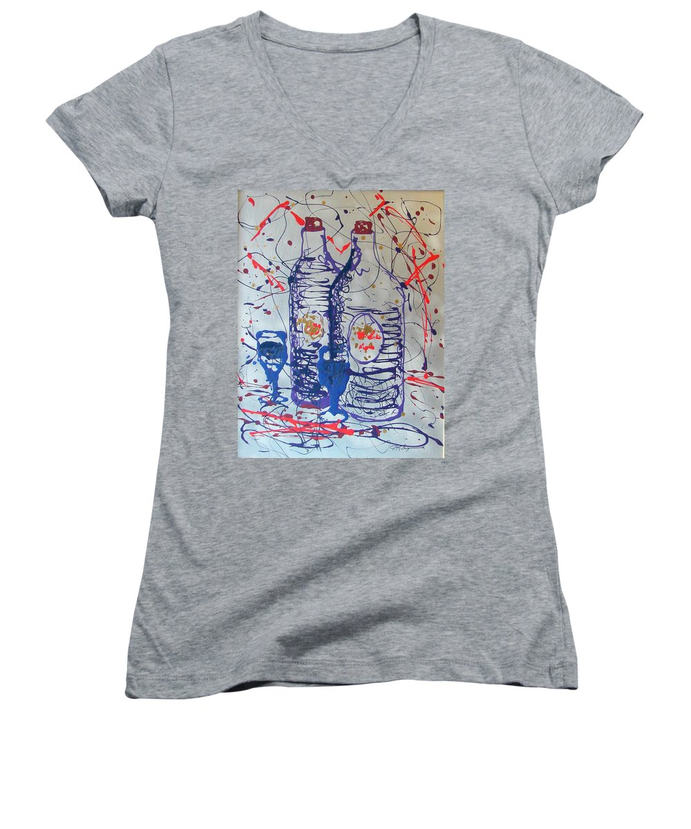 Wine Glass And Bottles Women's V-Neck T-Shirt (Junior Cut) featuring the painting Wine Jugs by J R Seymour