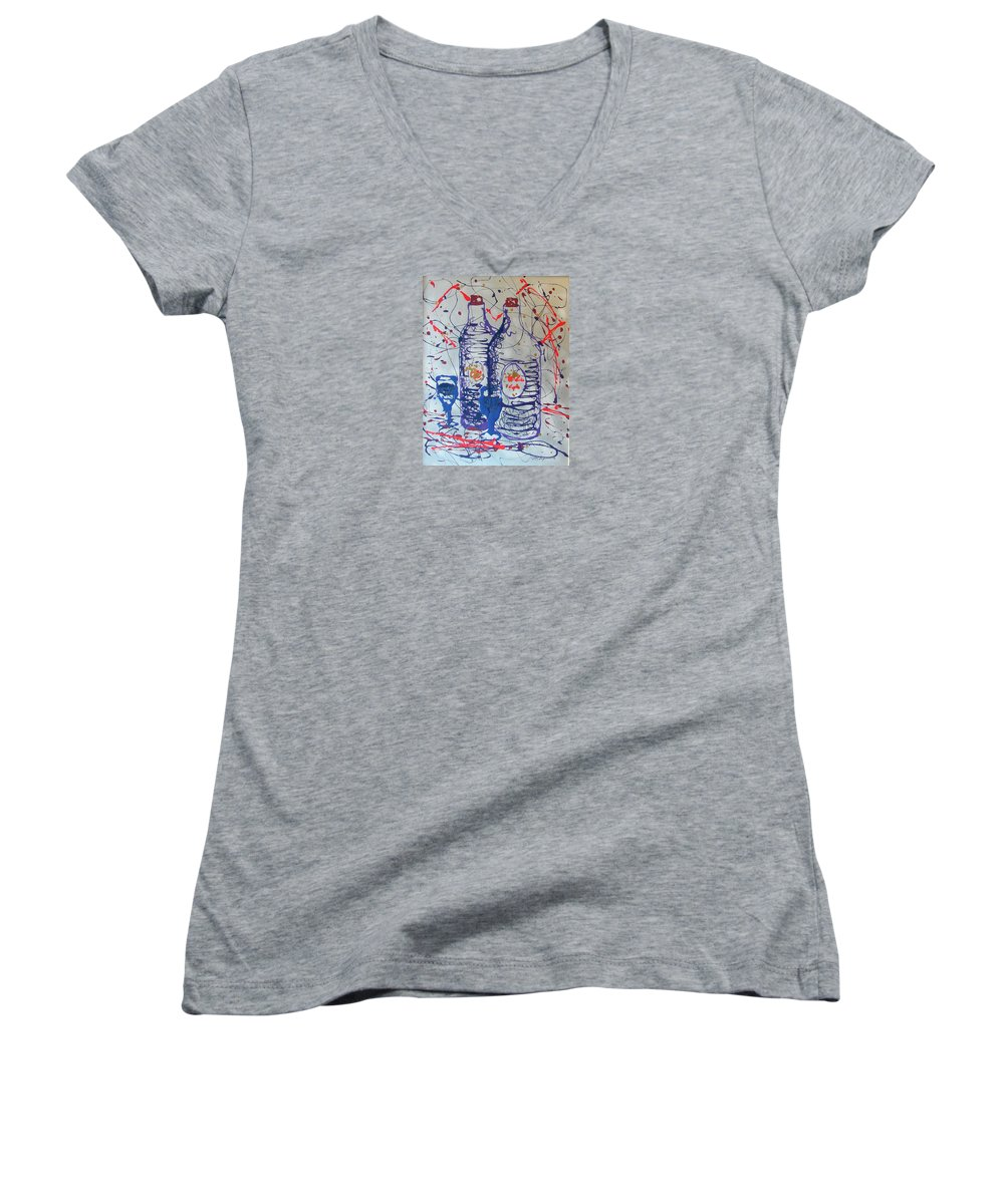 Impressionist Painting Women's V-Neck (Athletic Fit) featuring the painting Wine Jugs by J R Seymour