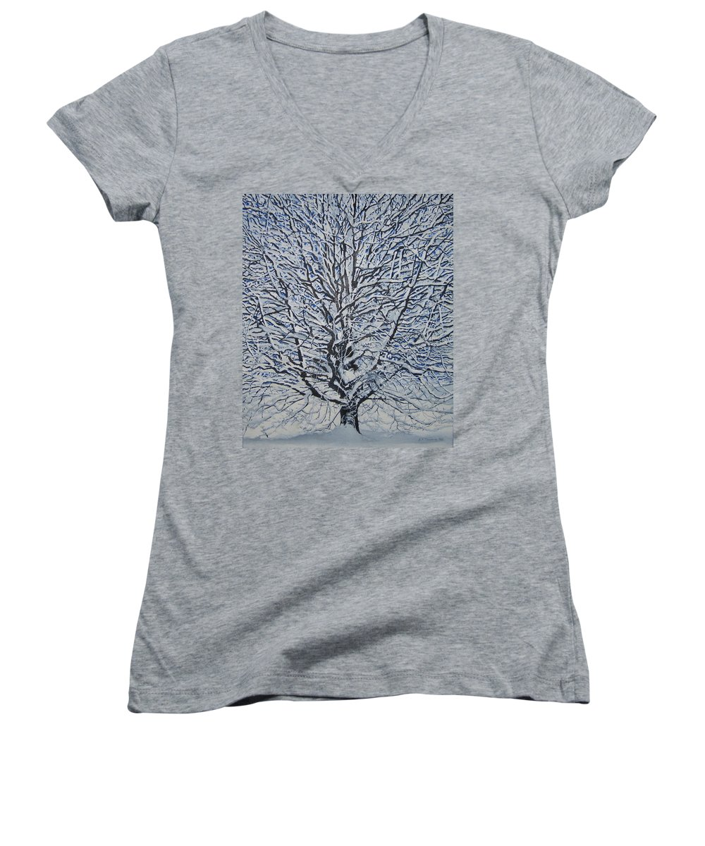 Winter Women's V-Neck T-Shirt featuring the painting Winter '05 by Leah Tomaino