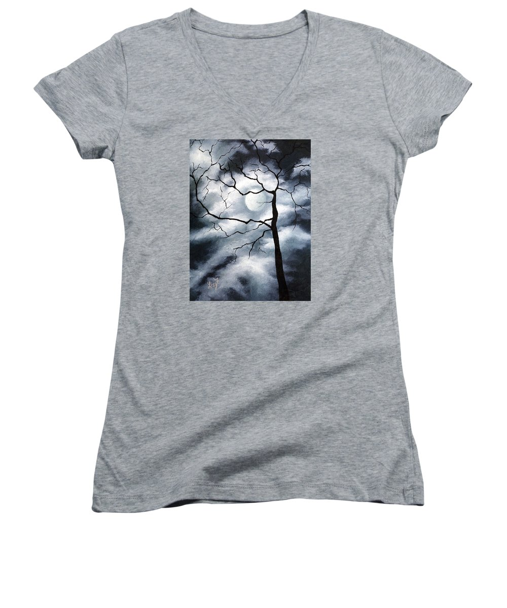Winter Women's V-Neck T-Shirt featuring the painting Winter Evening by Elizabeth Lisy Figueroa