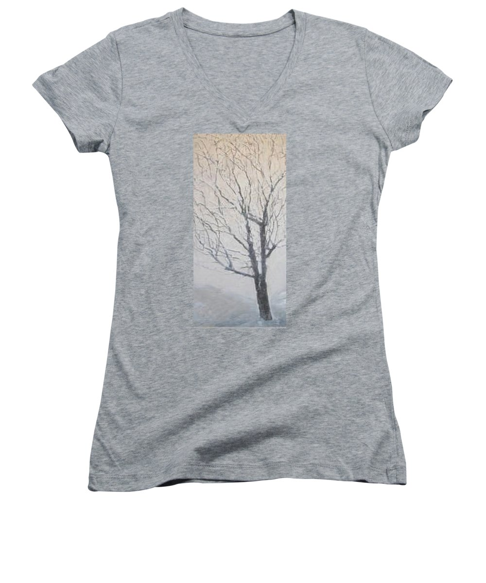 Tree Women's V-Neck T-Shirt featuring the painting Winter by Leah Tomaino