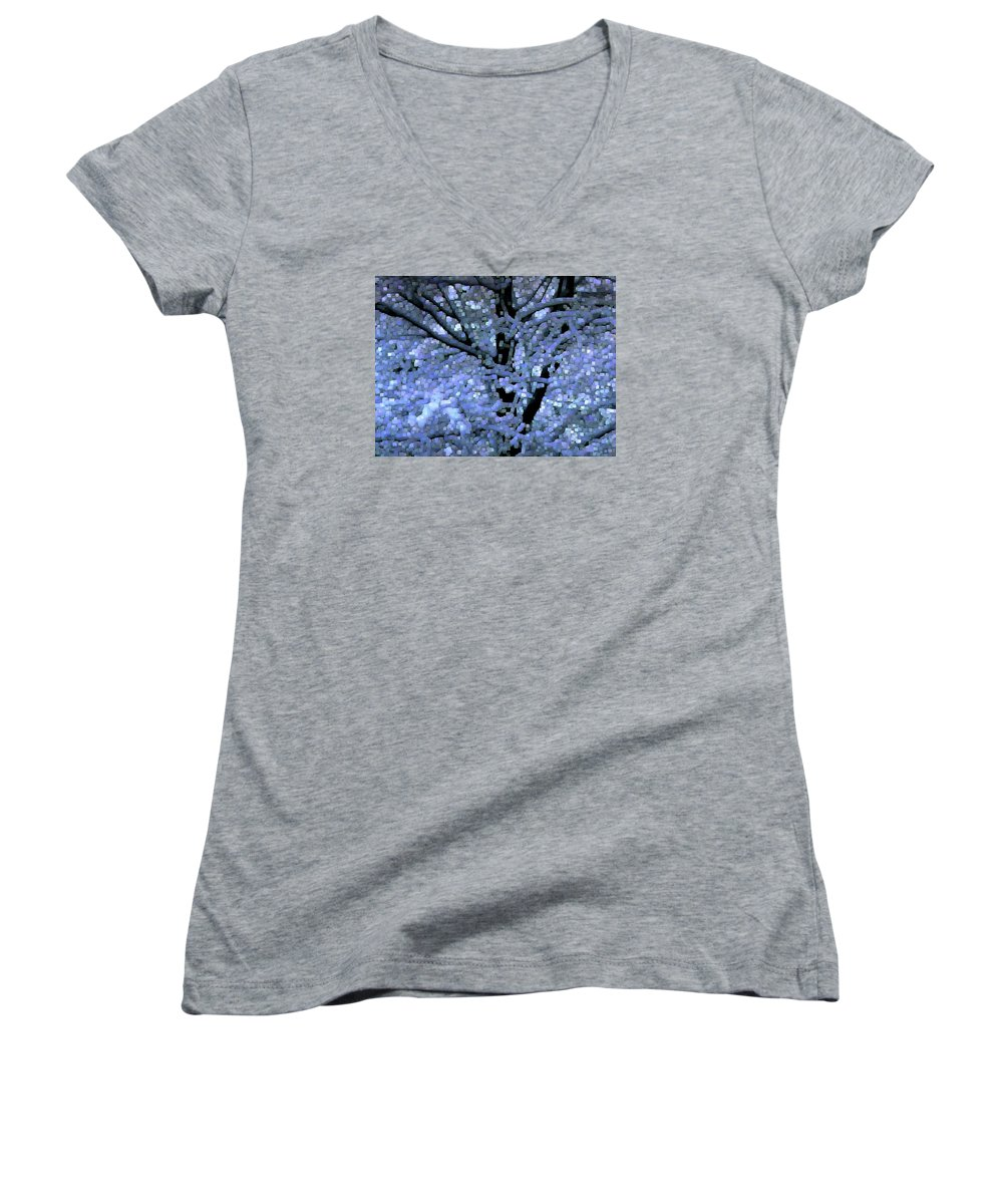 Abstract Women's V-Neck (Athletic Fit) featuring the digital art Winter Light by Dave Martsolf