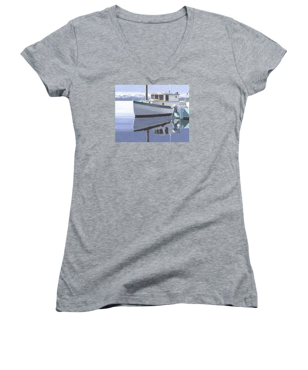 Marine Women's V-Neck (Athletic Fit) featuring the painting Winter Moorage by Gary Giacomelli