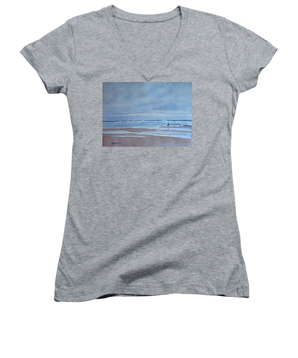 Ocean Women's V-Neck T-Shirt featuring the painting Winter Morning Solitude by Jenny Armitage