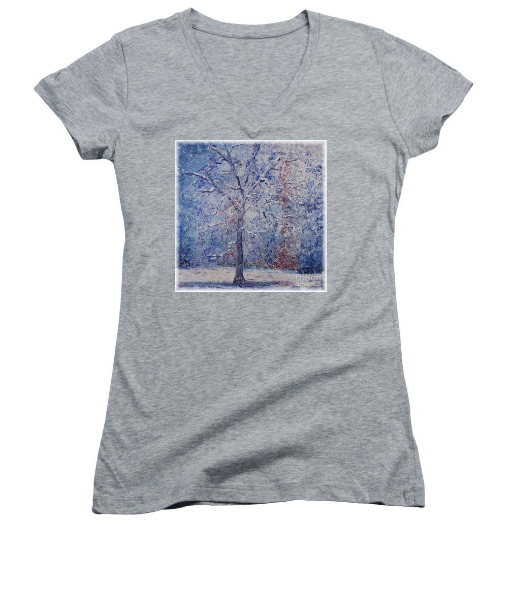 Winter Women's V-Neck T-Shirt featuring the painting Winter Trees by Nadine Rippelmeyer